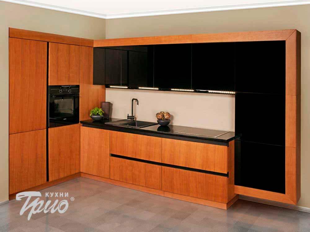 Угловая кухня с фасадами под дерево цена: 3 072р. мебель на .
